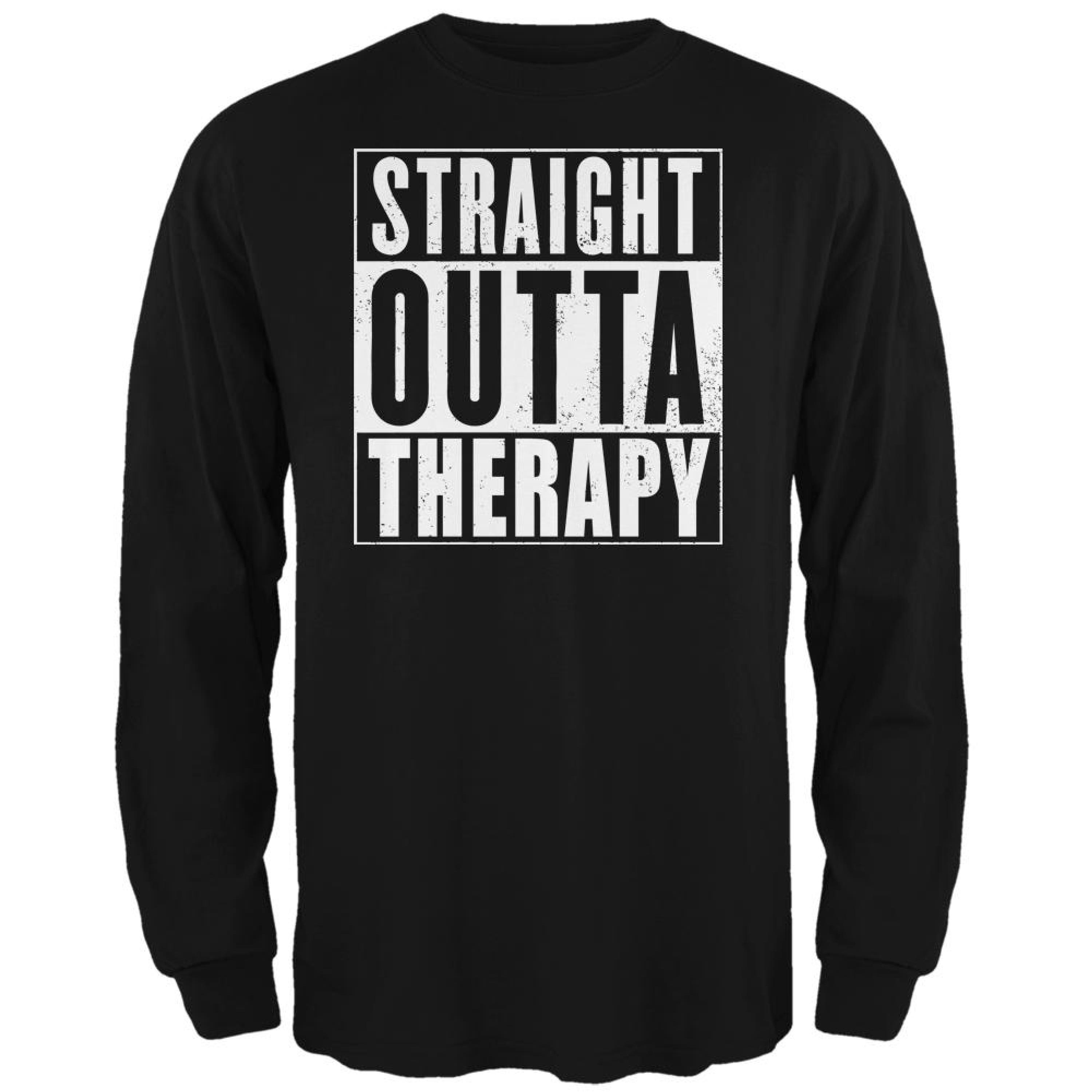Straight Outta Therapy Black Adult Long Sleeve T-Shirt