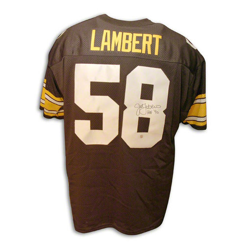 NFL - Jack Lambert Pittsburgh Steelers Autographed Throwback Black Jersey with HOF Inscription