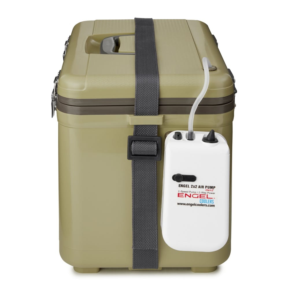 Tan Engel 13 Quart Insulated Live Bait Fishing Outdoor Cooler With Water Pump
