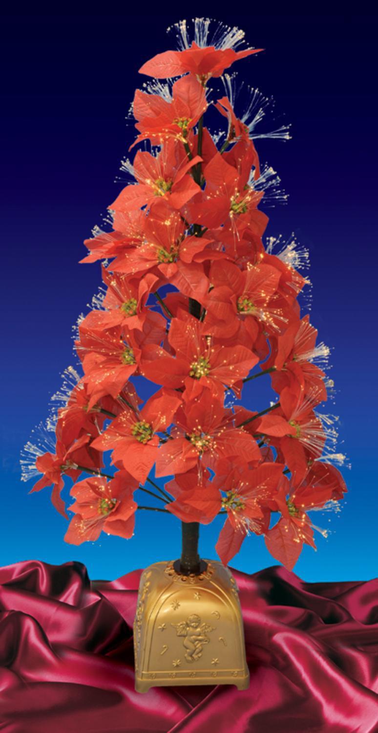 4' Pre-Lit Color Changing Fiber Optic Red Poinsettia Christmas Tree - Walmart.com