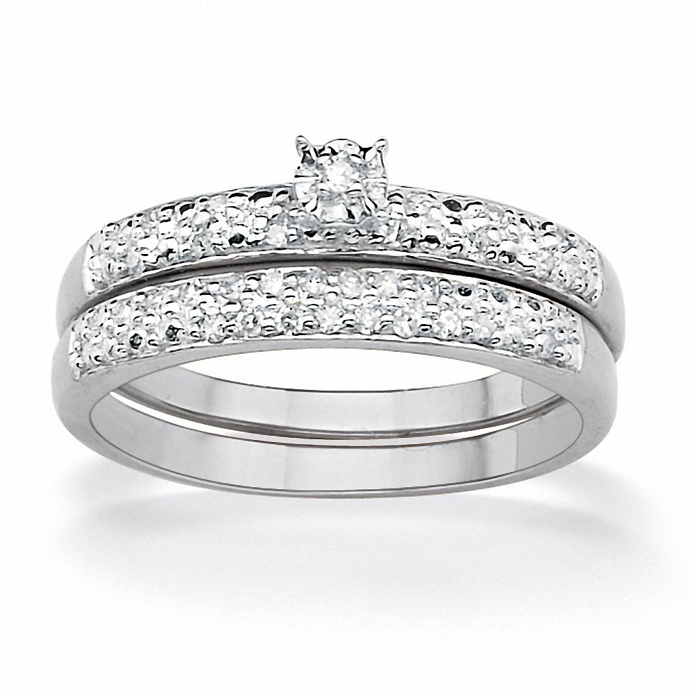 PalmBeach 2 Piece 1/7 TCW Round Diamond Pave Bridal Ring ...
