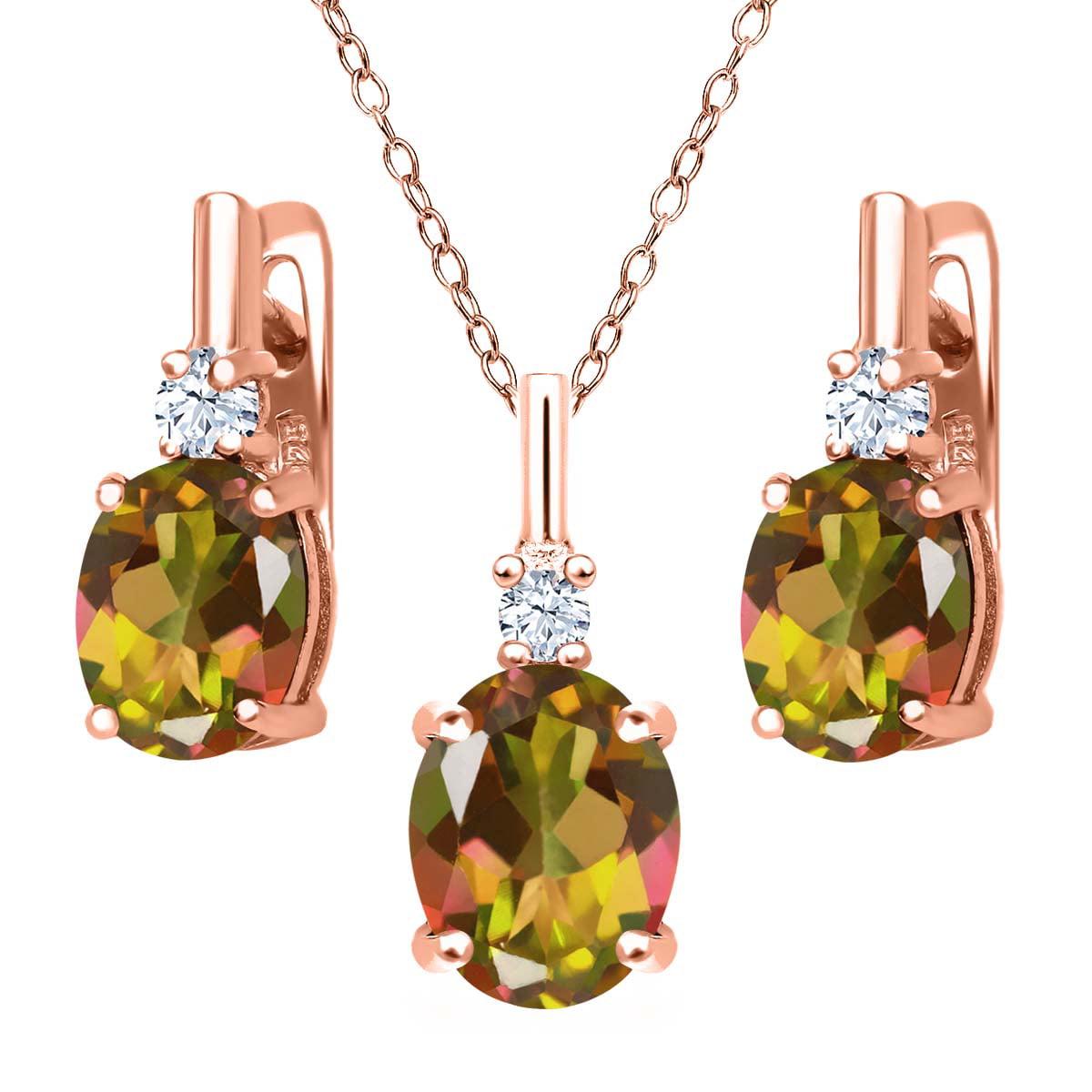 6.98 Ct Mango Mystic Topaz White Topaz 18K Rose Gold Plated Silver Pendant Earrings Set by