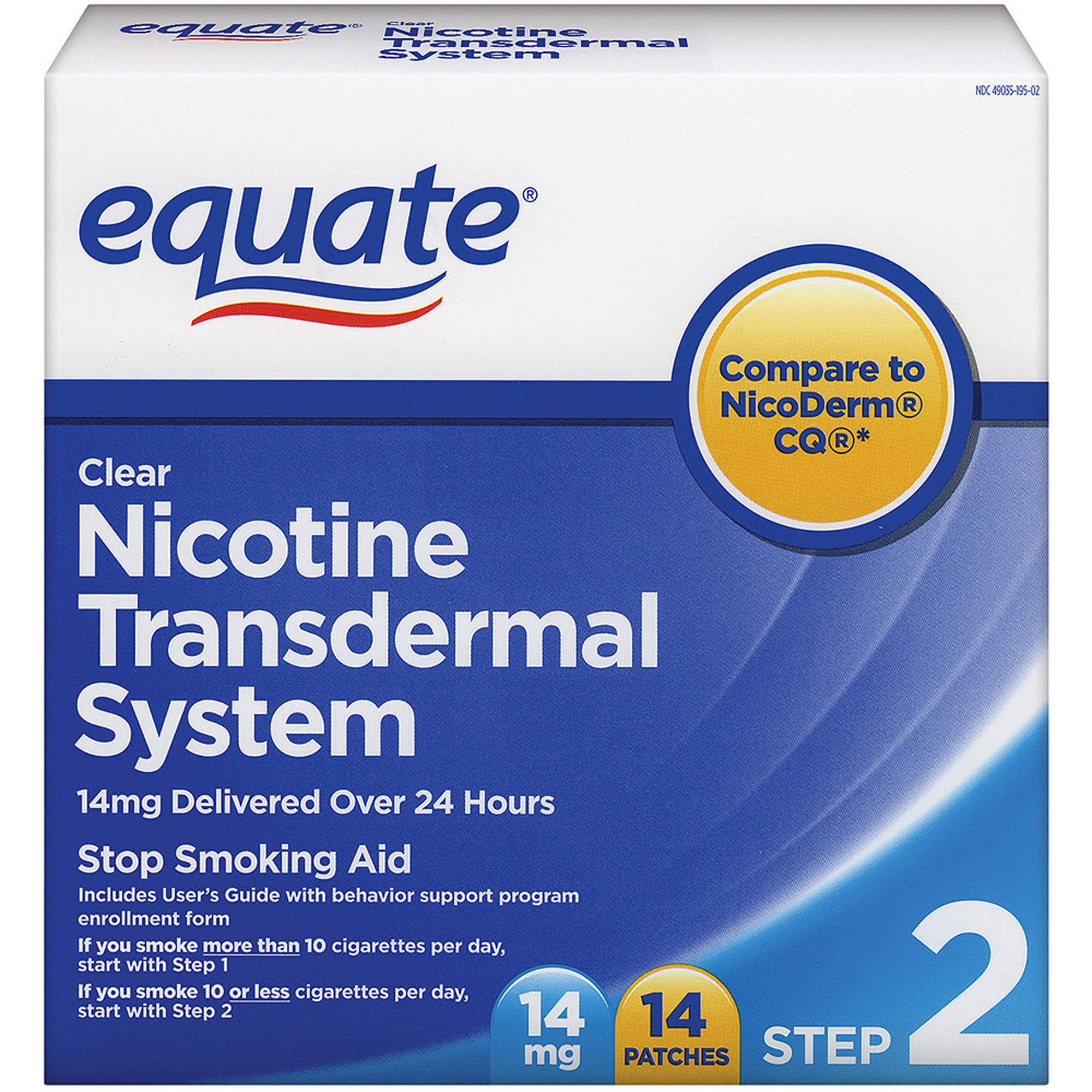 Equate Step Two Clear Transdermal System Nicotine Patches, 14mg