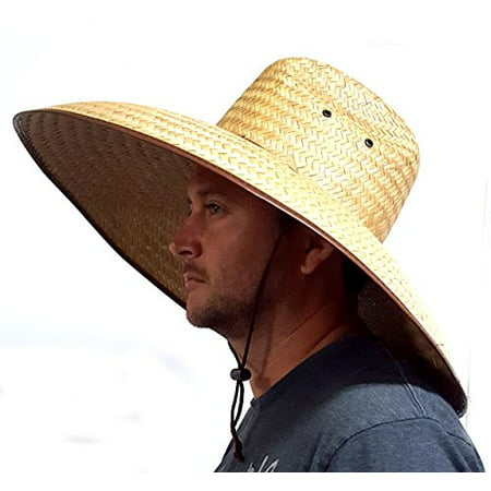 Double Weaved Hard Shell Shade Hat Large Fit Wide Brim Straw - Customized Hard Hats