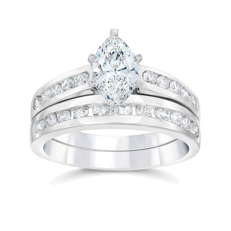 2 Carat Marquise  Diamond Engagement Wedding Ring Set White Gold 14k