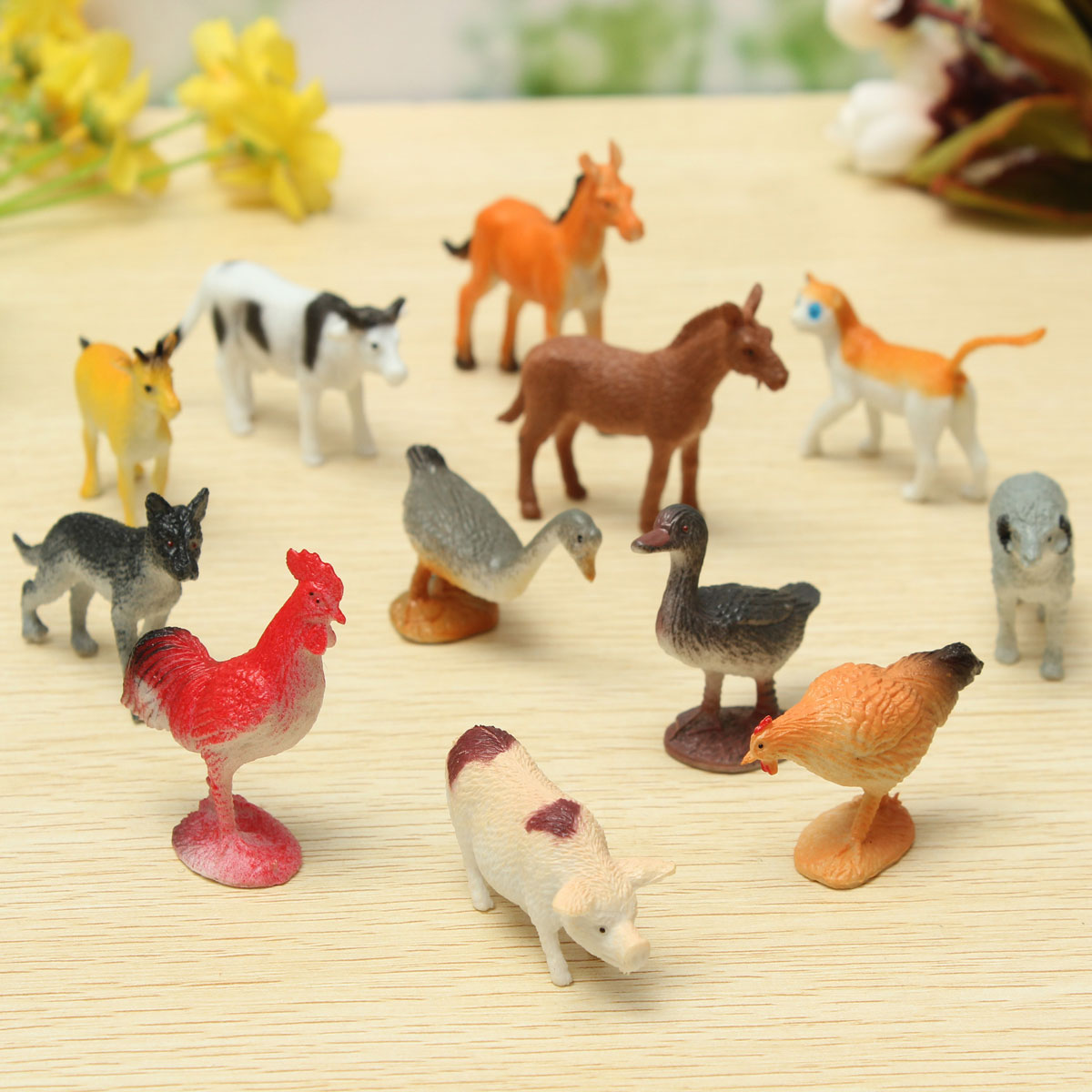 12PCS Plastic Farm Yard Figure Pig Cow Horse Dog Animal Model Playset Toy Baby Children... by