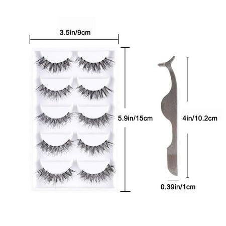 Entire Box (Reactionnx False Eyelash Kit with Clamp, 10 Lashes Fake Eyelashes, Soft Flexible False Eyelashes, Entire Eyelids for Ladies Women Natural Look, 5 Pairs,with Box)
