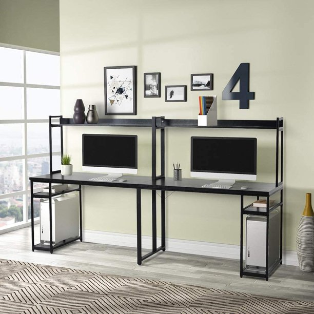 94 5 Inches Computer Desk With Hutch, Double Desk Home Office With Hutch
