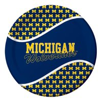 University of Michigan Round Paper Plates 8 Count for 8 Guests