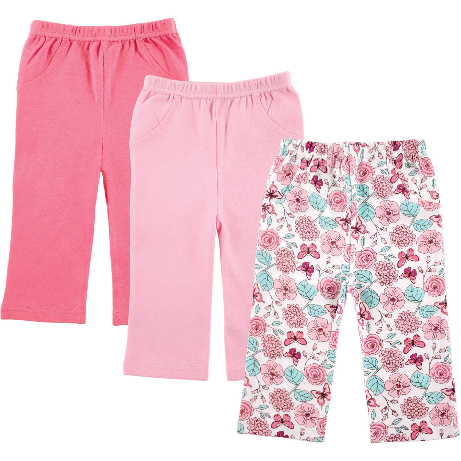 Luvable Friends Newborn Baby Girl 3-Pack Printed Pants, Pink Flowers