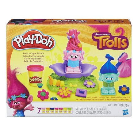 Play-Doh Dreamworks Trolls Press 'N Style Salon Set with 7 Cans of Dough - Play Doh Party