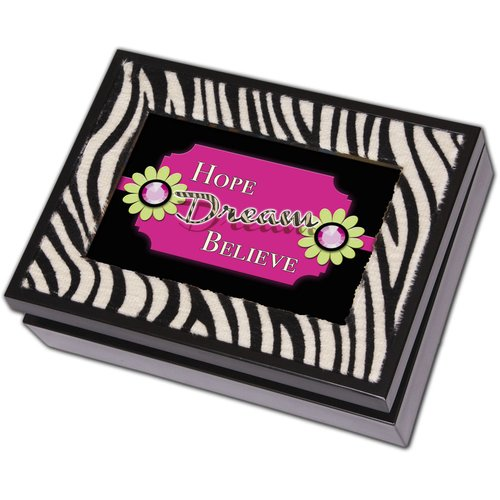 Cottage Garden Digital Zebra Music Jewelry Box