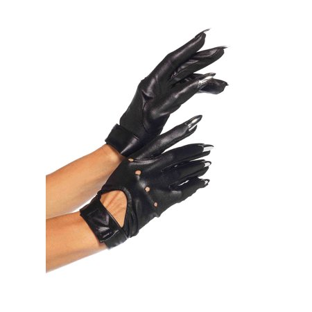 Leg Avenue Claw Motorcycle Gloves with Keyhole Velcro Strap, One Size, Black