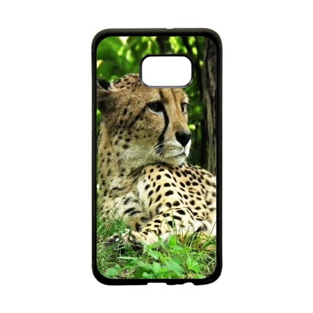 Cheetah Design Protective Black Plastic Phone Case Cover That Is Compatible with the Samsung Galaxy s6 Edge