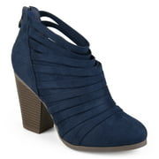 Brinley Co. Womens Chunky Heel Strappy Faux Suede Ankle Booties