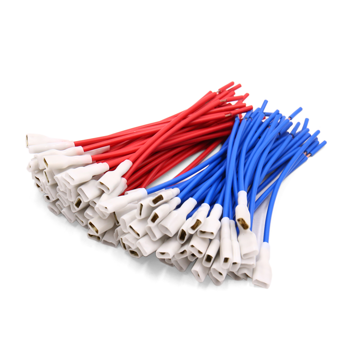 100Pcs Red Blue Car Speaker Wire Female Terminal Adapter Trumpet Cable Connector