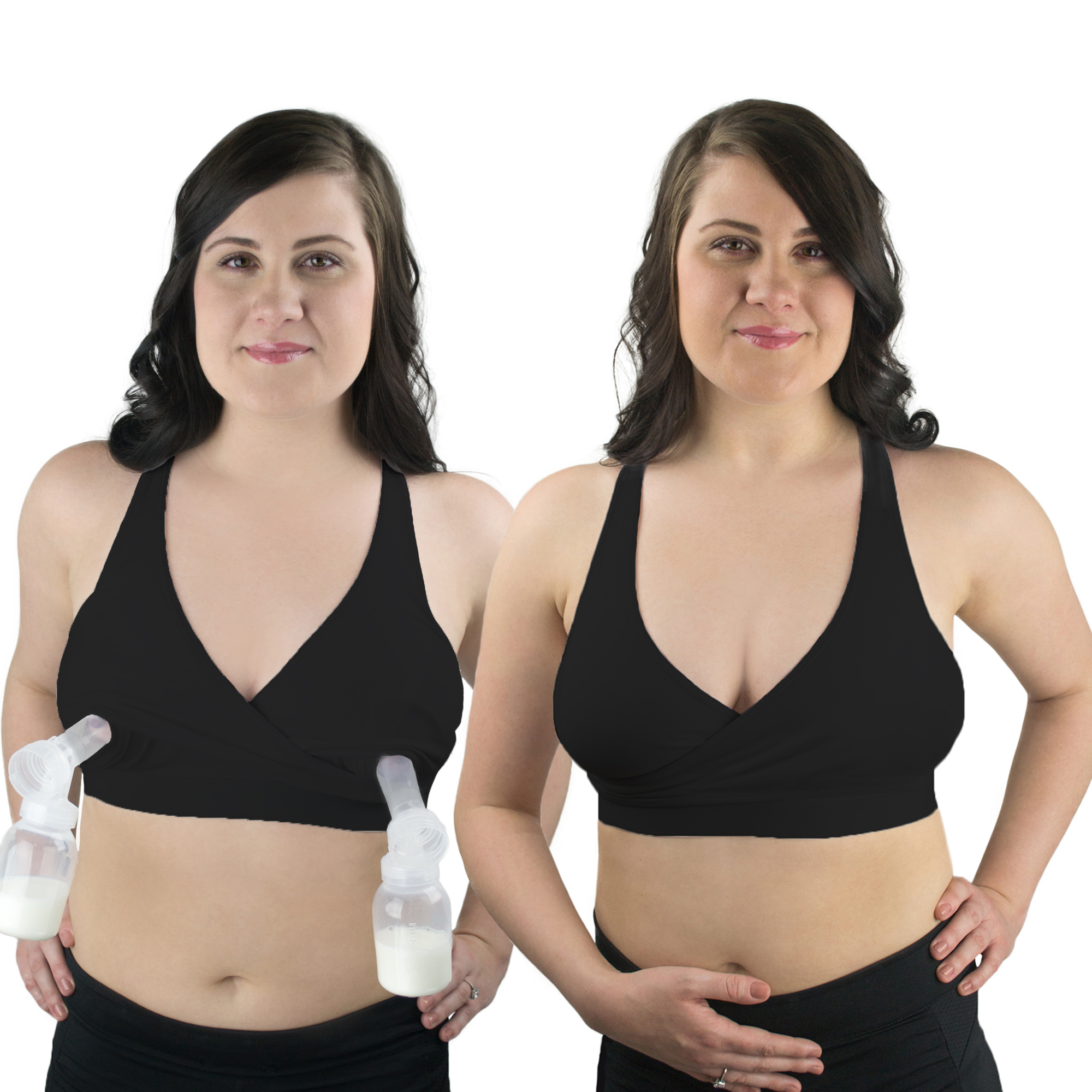 Rumina's Pump&Nurse Racerback all-in-one Nursing Bra for maternity, nursing with built in hands-free pumping bra