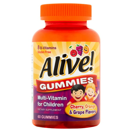 Alacer Flavored Vitamins - Alive! Cherry Orange & Grape Flavors Gummies Multi-Vitamin for Children 60 count