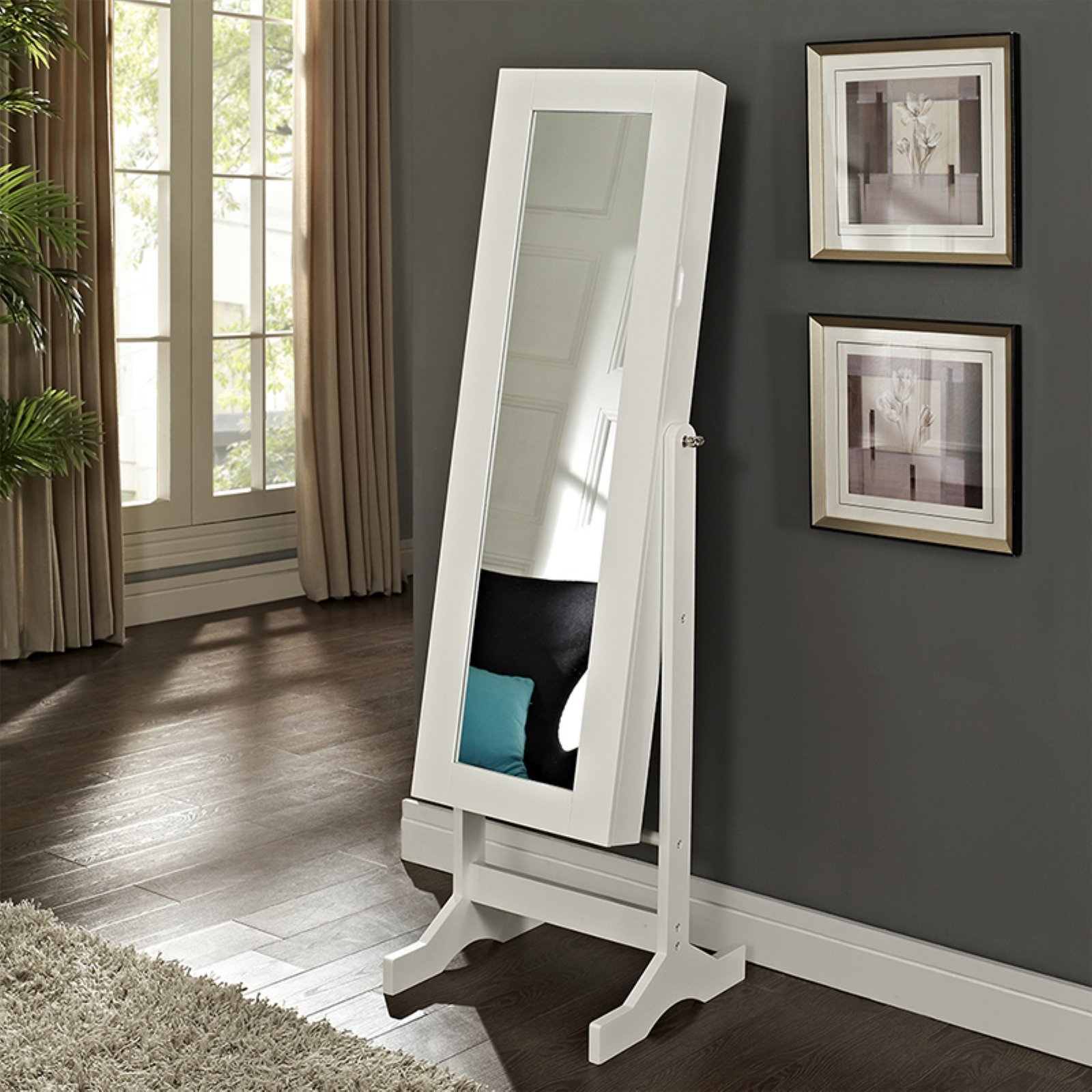 Modern Jewelry Armoire Cheval Mirror - High Gloss White