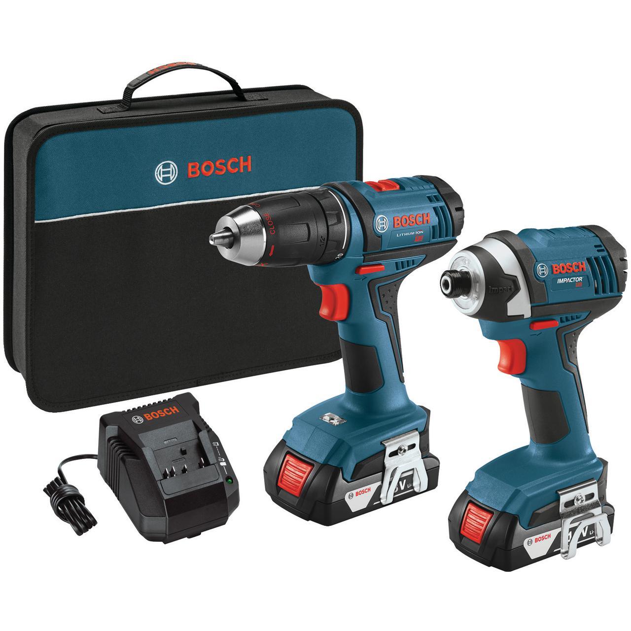 "Bosch CLPK26-181 Compact 1/2"" Drill/Driver & 1/4"" Hex Impact Driver 18-Volt Cordless Combo Kit"