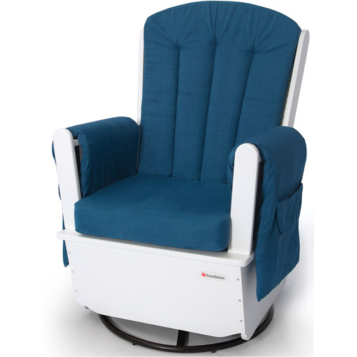 Foundations SafeRocker SS Swivel Glider Rocker, White/Blue