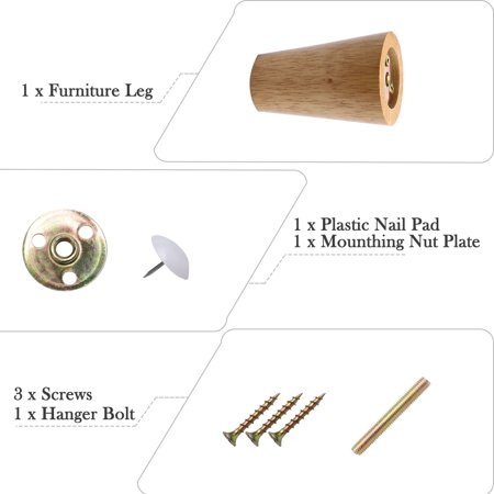 """3.1"""" Round Solid Wood Furniture Leg Table Desk Cabinet Feet Adjuster Replacement - image 1 of 7"""