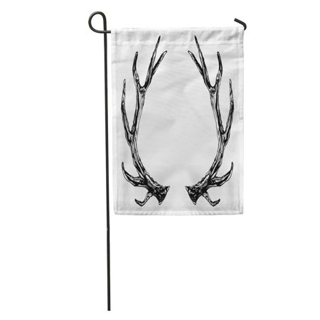 KDAGR Deer Reindeer Antlers Ink Boho Rustic and Elk Christmas Horn Buck Garden Flag Decorative Flag House Banner 28x40 inch - Bulk Reindeer Antlers