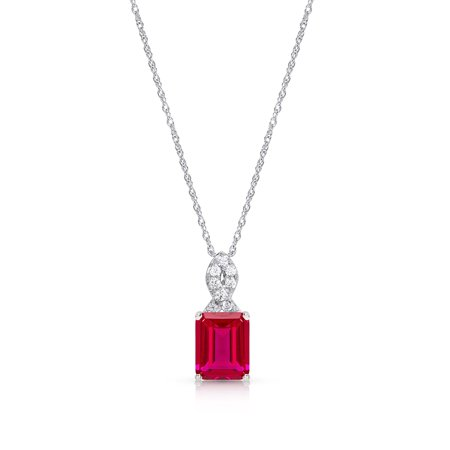 Sterling Silver Created Ruby Pendant Necklace (Created Ruby Pendant)