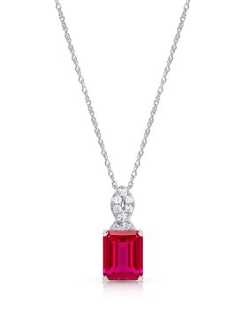 Sterling Silver Created Ruby Pendant Necklace