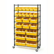 24-Bin Commercial Rolling Bin Rack Storage System, 36? W x 14.25? D x 63.5? H by Seville Classics