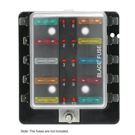 10 Way Blade Fuse Box Holder with LED Warning Light Kit for Car Boat Marine Trike 12V