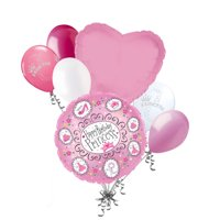7 pc Pink Princess Tiara Balloon Bouquet Party Decoration Happy Birthday Fashion