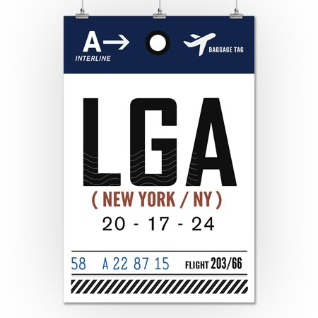 New York City, NY - LGA - Luggage Tag - Lantern Press Artwork (24x36 Giclee Gallery Print, Wall Decor Travel Poster) - Party City Monroe Ny