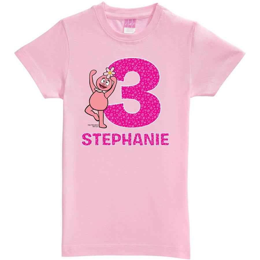 Personalized Yo Gabba Gabba Birthday Celebration Toddler Girls' Fitted Tee, Pink