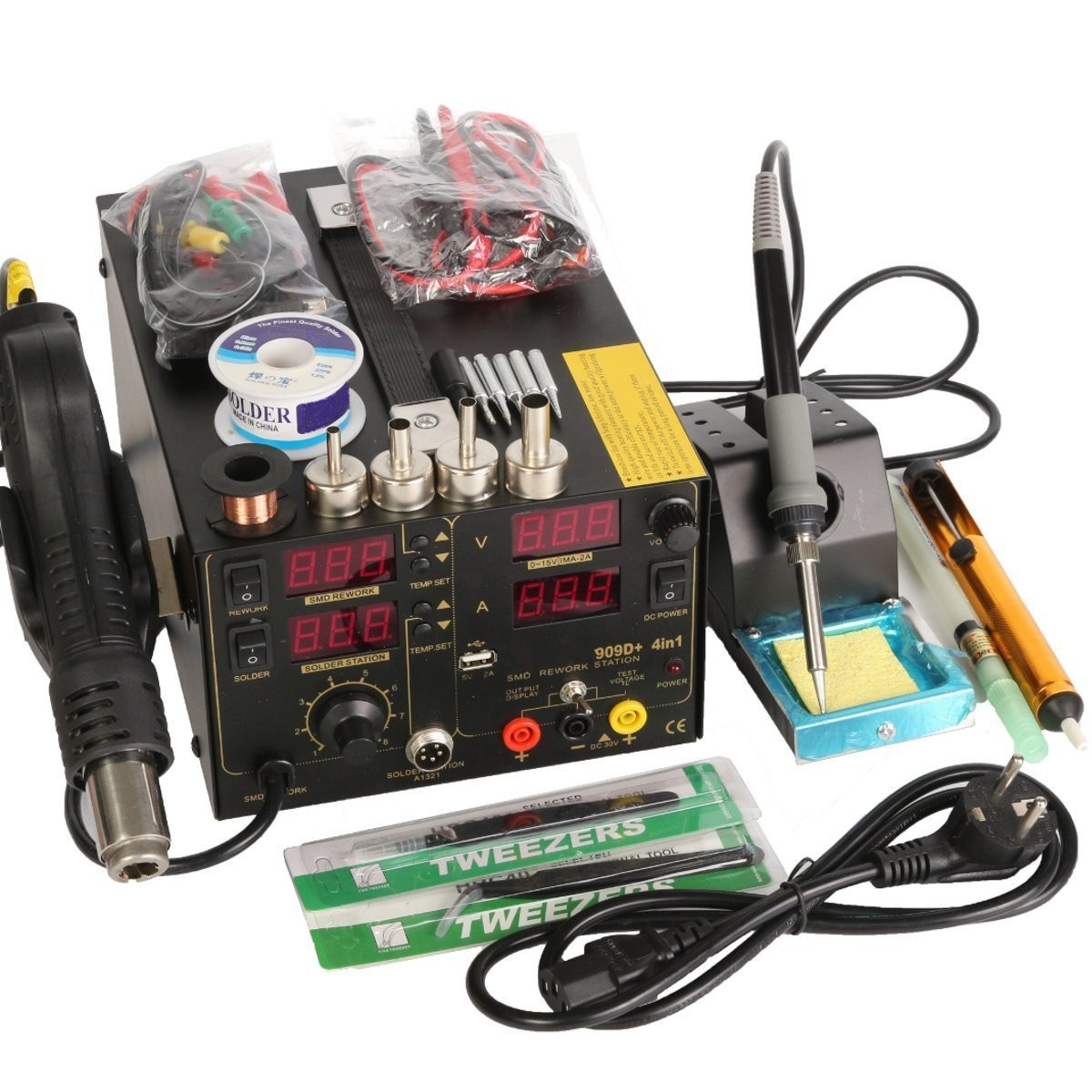4 In1 Rework Soldering Station Hot Heat Air Gun USB Power Supply 220V AC 800W 909D+ by
