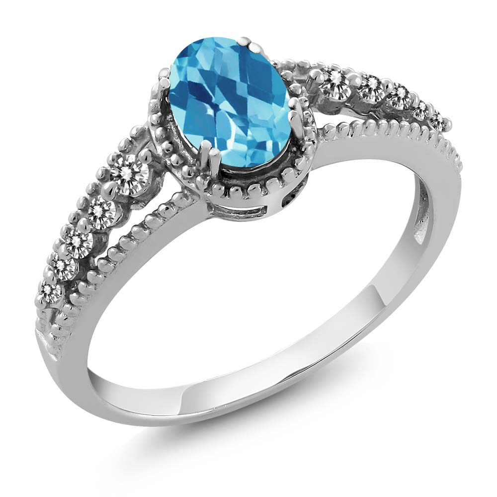 1.15 Ct Oval Checkerboard Swiss Blue Topaz White Diamond 14K White Gold Ring by