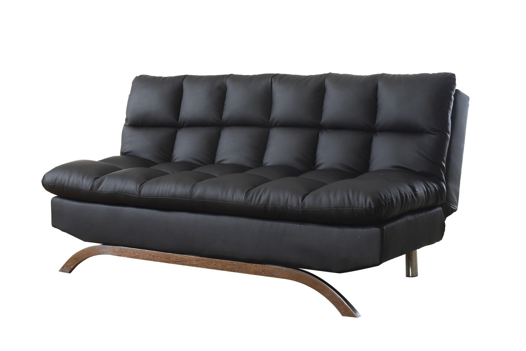 Plush Futon Sofa Bed With Chrome Legs Black   Walmart.com ...