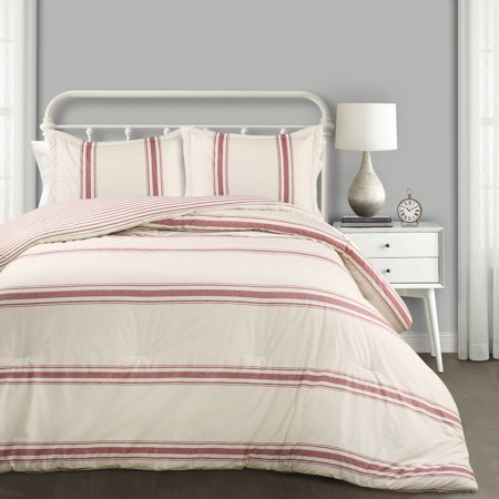 u0022Lush Decor Farmhouse Stripe Traditional Reversible Comforter, King, Red, 3-Pc Setu0022