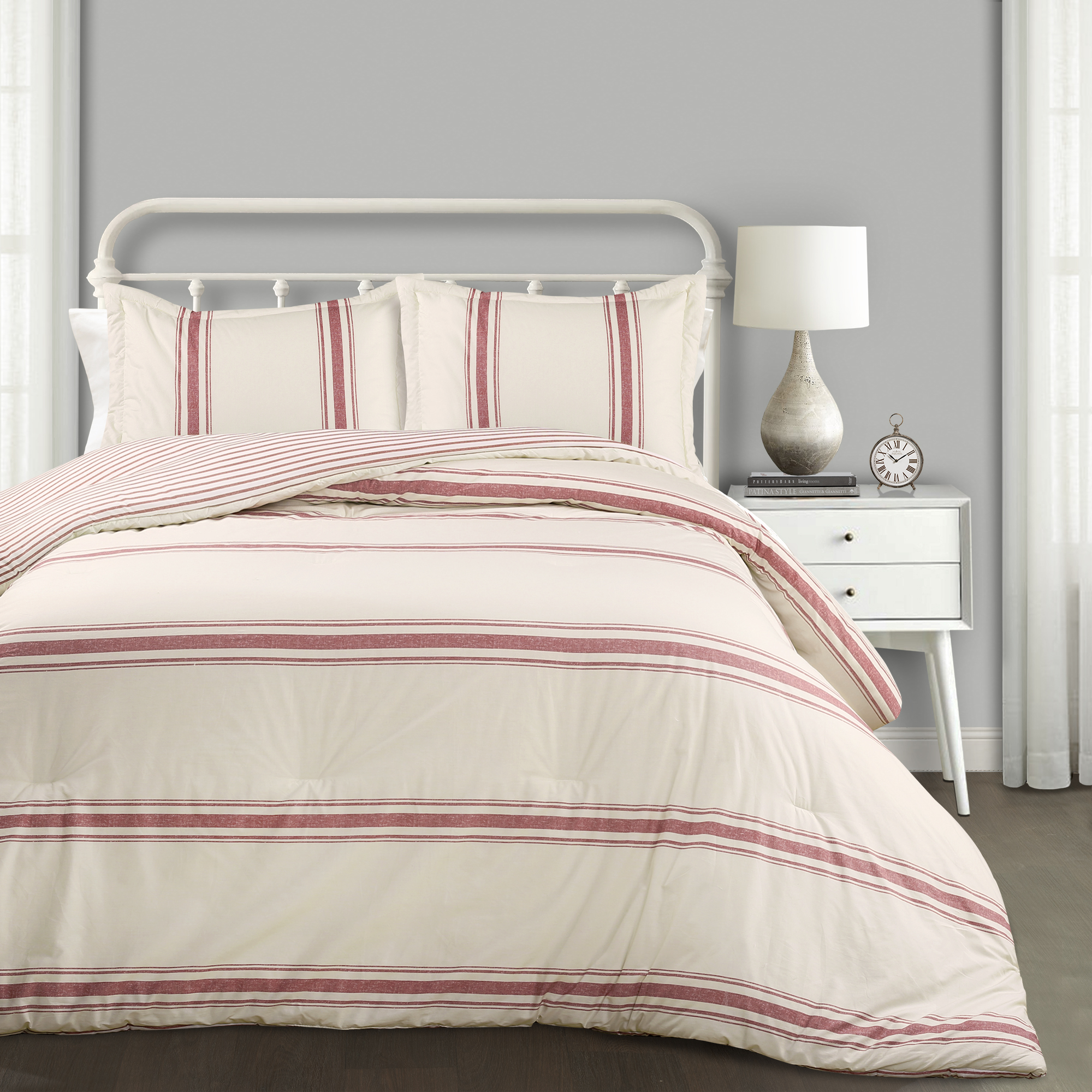 Farmhouse Stripe Comforter Blue 3Pc Set Full/Queen