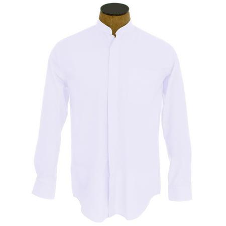 White Collar Cuff (Men's Collarless Banded Collar Dress)