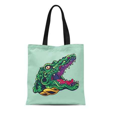 ASHLEIGH Canvas Tote Bag Graphic Vintage Crocodile Alligator Head Old School Tattoo Helloween Reusable Shoulder Grocery Shopping Bags Handbag (Vintage Crocodile Handbags)