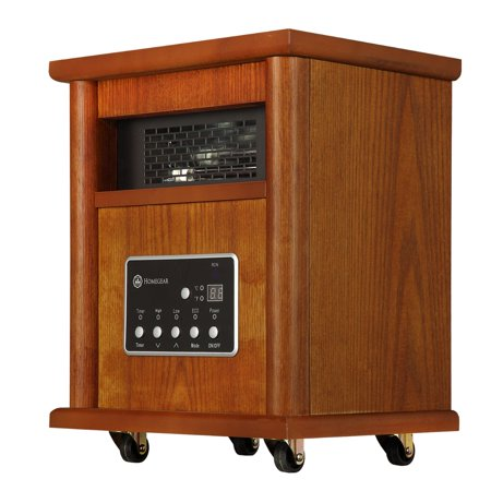 Homegear 1500 SqFt Infrared Electric Portable Wooden Space Heater Brown +Remote Control