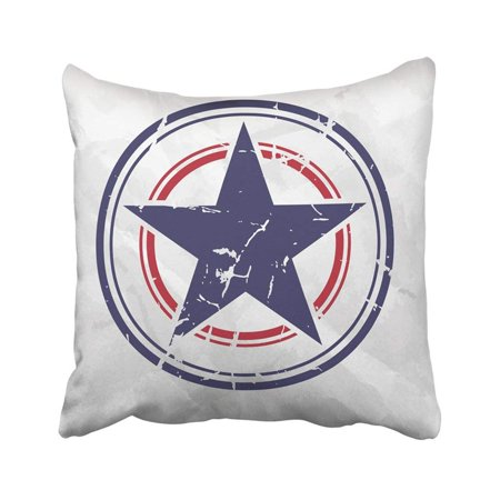 BPBOP Blue America Grunge Star On Crumpled Red Captain Military 4th American Badge Center Pillowcase Throw Pillow Cover 18x18 inches