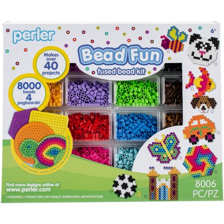 a6cd78e34 Perler Fused Bead Kit, Bead Fun: Includes 8000 Beads and 4 Pegboards for  40+ Projects - Walmart.com