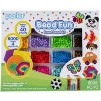 Perler Fused Bead Kit, Bead Fun: 8000 Beads and 4 Pegboards for 40+ Projects
