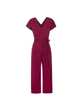 DYMADE Women's Short Cap Sleeve V-Neck Long Pants Romper Jumpsuit