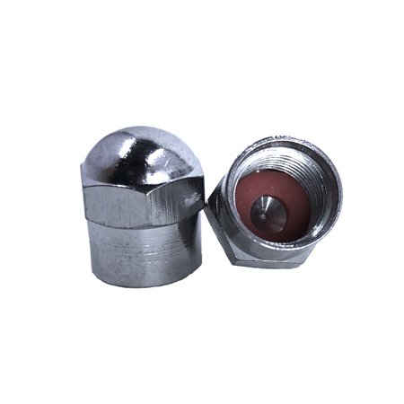 This is a single Chrome Hex Dome metal valve cap for cars, bicycles and trucks