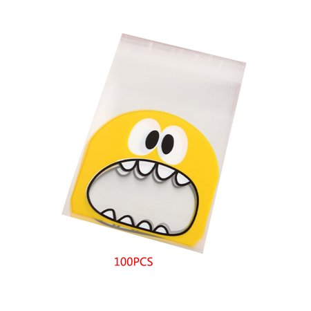 100 Pcs Cartoon Monster Cookie Candy Package Gift Bags Self-Adhesive Plastic Fit Cookies Party - Cookie Monster Party Ideas