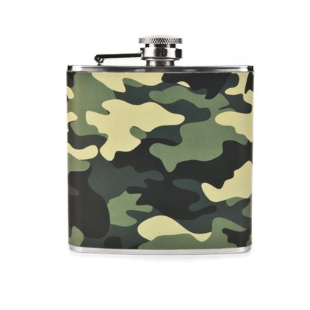 Flask, Pocket Size 6ounce Camouflage Stainless Steel Flasks Small Liquor