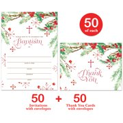 Baby Baptism Invitations ( 50 ) & Matching Thank You Cards ( 50 ) Set with Envelopes, Seasonal Winter Christmas Infant Christening Fill-in-Style Invites & Folded Thank You Notes VS0100L